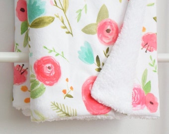 Sherpa Cuddle Blanket - Happy Floral in Pink and Aqua, Flowers, Floral, Watercolor