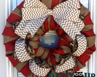 Red N Natural Chevron Burlap Wreath, Welcome Wreath, Office Wreath, Everyday Wreath,