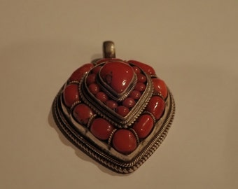 Coral and Sterling Silver Pendent