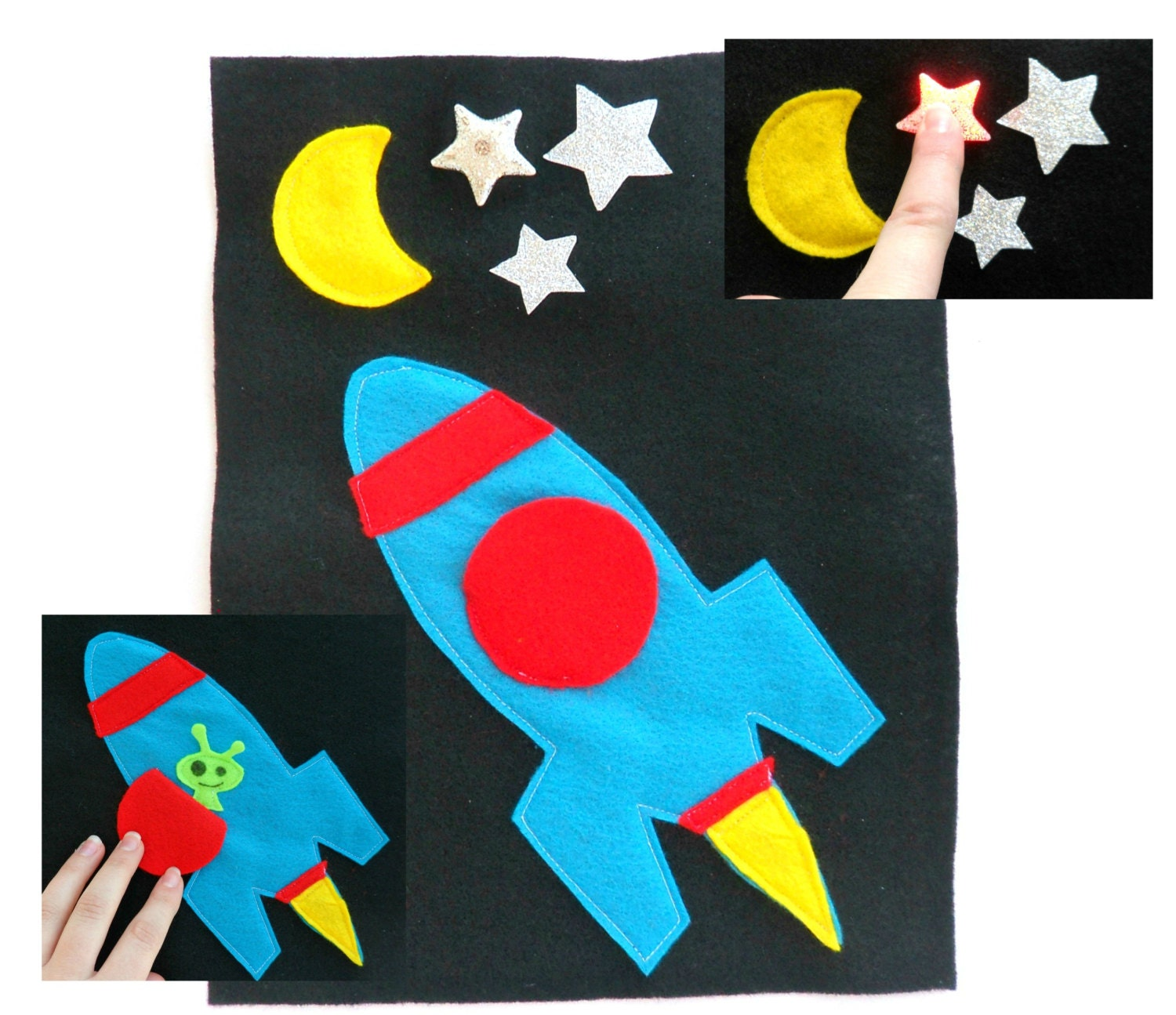 light up rocket ship quiet book page