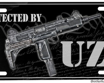 Protected By Uzi License Plate