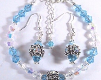 Sky Blue and Clear AB Swarovski Crystal Bracelet and Earrings