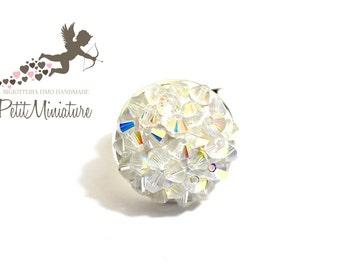 Ring Studded with Swarovski -control Pointiage- Bronze Age-Metal-plated Swarovski Crystal ab-Jewelry