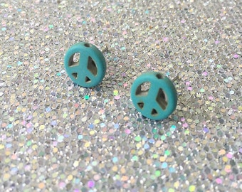 Stone Peace Sign Stud Earrings