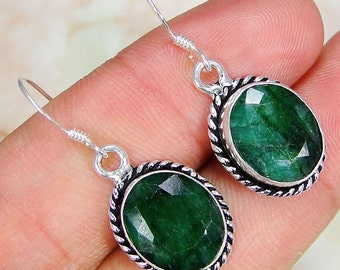 Earrings sterling silver .925 Emerald