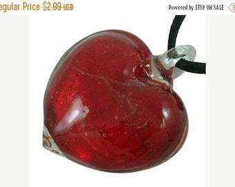 25% off SALE 36mm Heart Pendant, Red Glass Lampwork Heart, Red Heart Pendant, Red Jeweled Heart Pendant, Silver Foil Heart, 36x45mm, Valenti