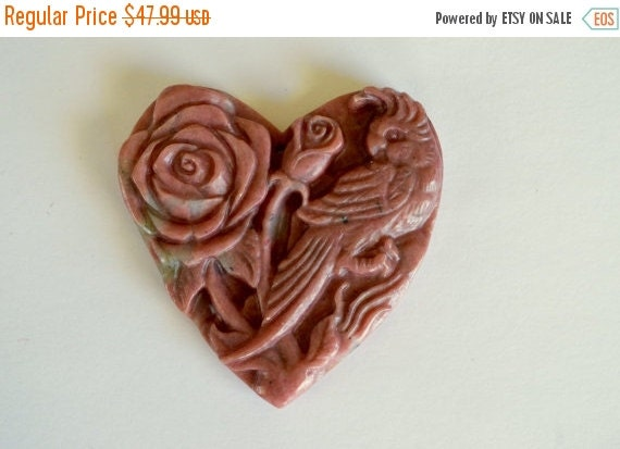 Super sale carved stone flower pendant pink by thebeadbandit