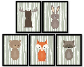 Woodland Nursery, Forest Animal Art, Birch Tree Art, Woodland Nursery Decor, Fox Nursery Art, Woodland Nursery Printables, Green Nursery