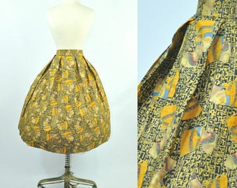 50s Circle Skirt Novelty Print Egyptian Nefertiti S