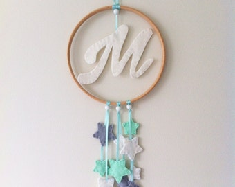 Personalised Monogram Nursery Wall Mobile with Mint, Grey and White Stars