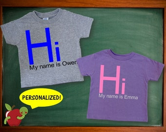 Hi My Name Is Shirt, Back To School Shirt, Kids Personalized Gift, Back To School Outfit, Kids Shirt With Name, School Shirt, Applecopter