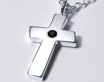Large Black Spinel Cross Pendant, Sterling Silver Cross Necklace, Large Black Spinel Cross Necklace, Sterling Silver Cross Pendant, Cross