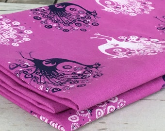 Pink fabric Peacock pattern in white and purple hand printed on pink hand dyed cotton linen fabric, sheet fabric for sewing