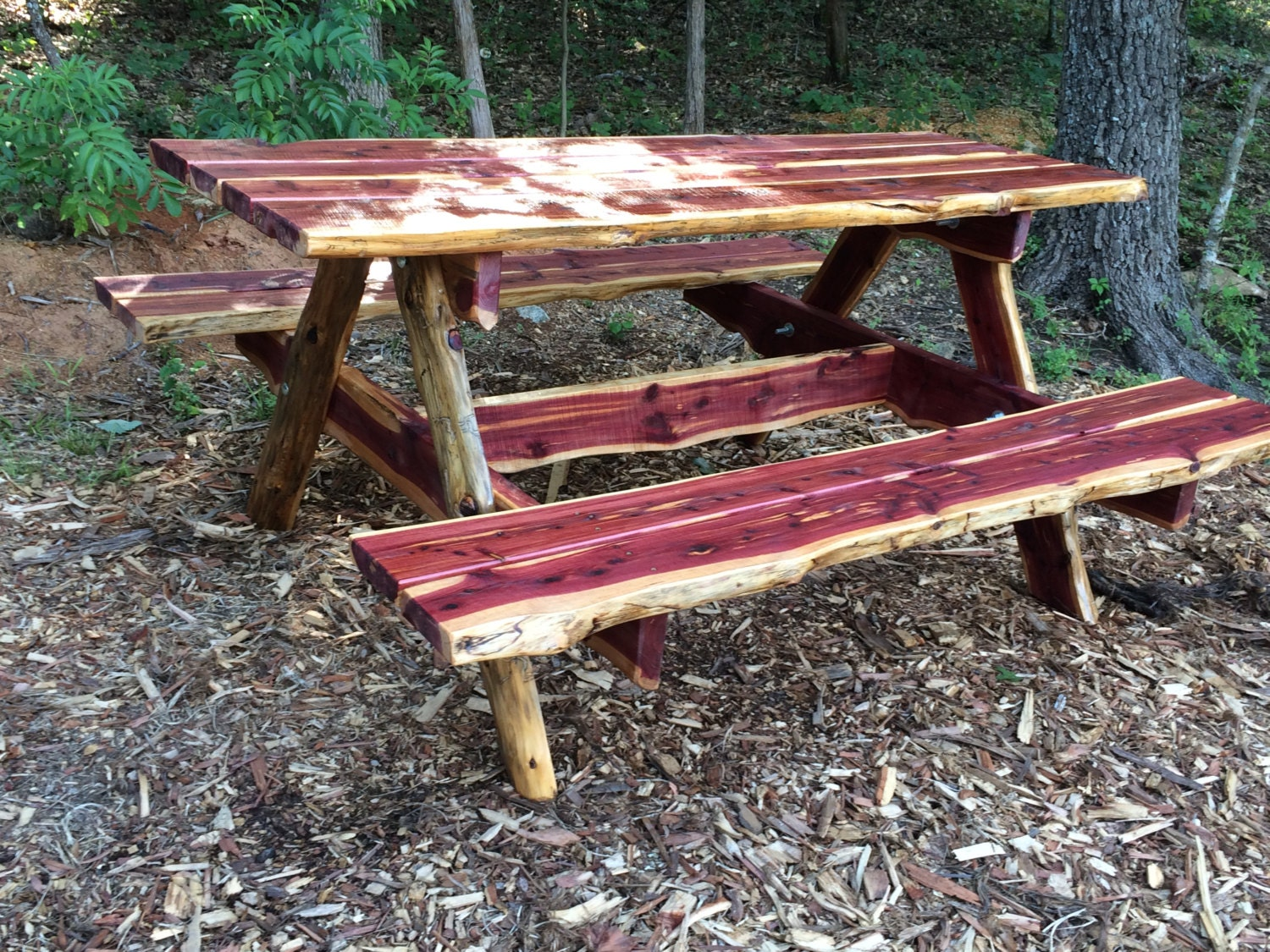 6 Ft Live Edge Eastern Red Cedar Picnic Table   Rustic Unique Picnic Table    Live Edge Picnic Table   Poverty Gulch Rustics   Christmas Gift