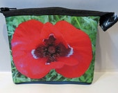 Coin purse, handmade neoprene protective zipper pouch, double-sided photoprint Poppy Flower (Neoprentäschchen Mohnblüte)