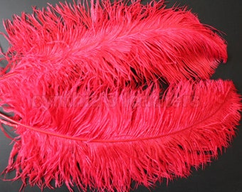 "1 pc of 20-22"" Red Ostrich Drab Plume Feather for Wedding Decor Millinery R-3"