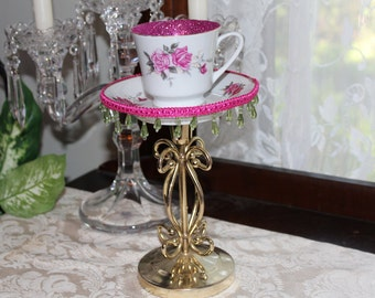 Pink Rose TeaCup Centerpiece, Wonderland Mad Hatter, Bridal Wedding Shower, Baby Shower Decor, Victorian High Tea Party Teacup Candle Holder