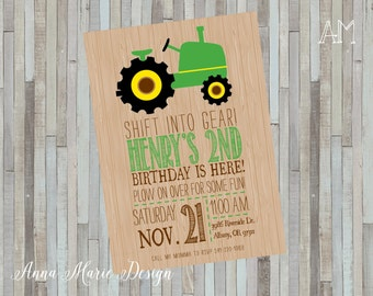 Tractor Birthday Digital Invitation