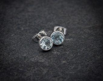 Blue Topaz Stud Earrings, Silver Studs, Blue Earrings, Gemstone Earrings, Semi Precious Stone, Sterling Silver, Birthstone Jewellery