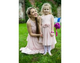 Beautiful flower girls dress, Wedding flower girl dress, Little princess dress, Chiffon girls dress, Girly dress, matching flower girl dress