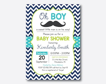 Mustache Baby Shower Invitation, Mustache Invitation, Little Man, Boy Baby Shower, Navy Blue Chevron, Baby Sprinkle, Personalized (SBS.28)