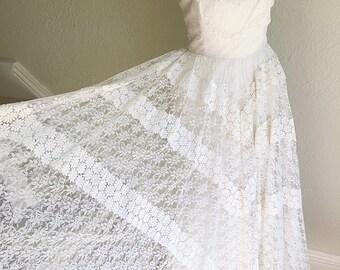 Fabulous Vintage 1950s Halter Neck Lace Wedding Dress and Bolero