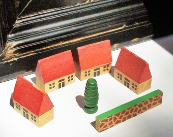 Little Toy Wooden Village / Vintage Toy / Four Houses a Fence and One Tree