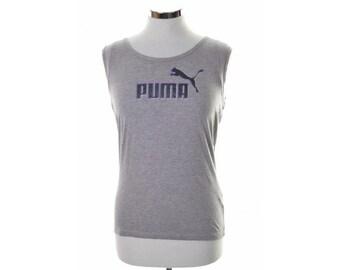 Puma Womens Vest Top Size 12 Small Grey Cotton Viscose
