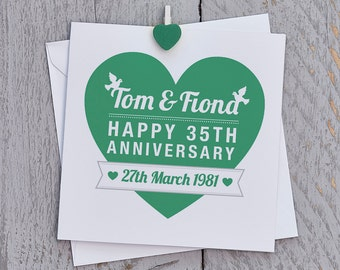 Personalised 35th Anniversary Card, 35 Card, 35 Anniversary Card, Custom Card, Jade Anniversary Card, 35th Anniversary Card, 35 Card