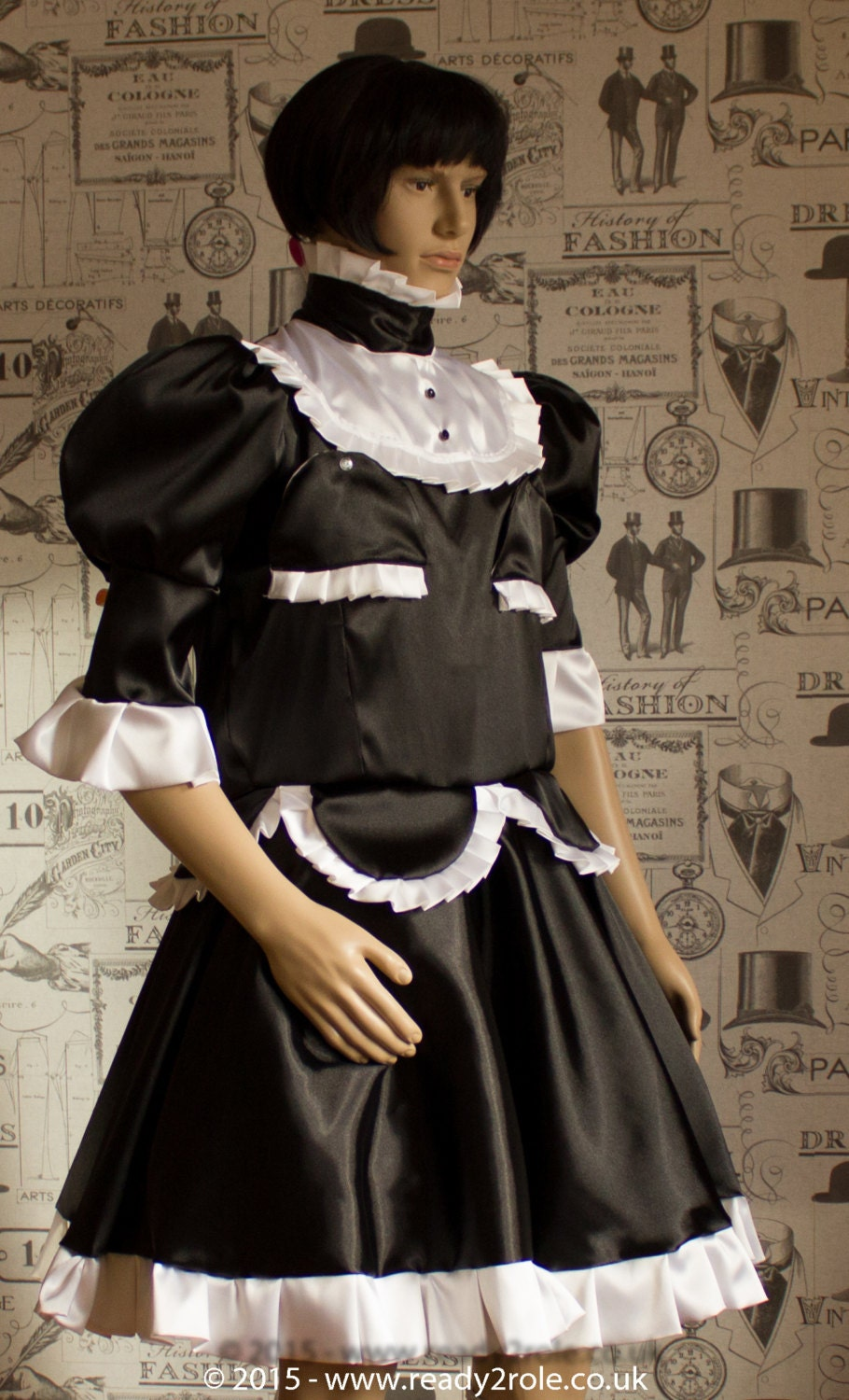 Sissy Dress The Petal in Black & White Satin