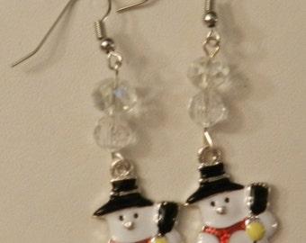 Silver Snowman Christmas Holiday clear crystal Earrings V2