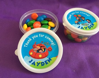 12 Personalized Little Einsteins Candy containers / candy cups with lids / party favors