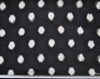 Big Polka dots Ikat fabric black and white handloom fabric by the yard