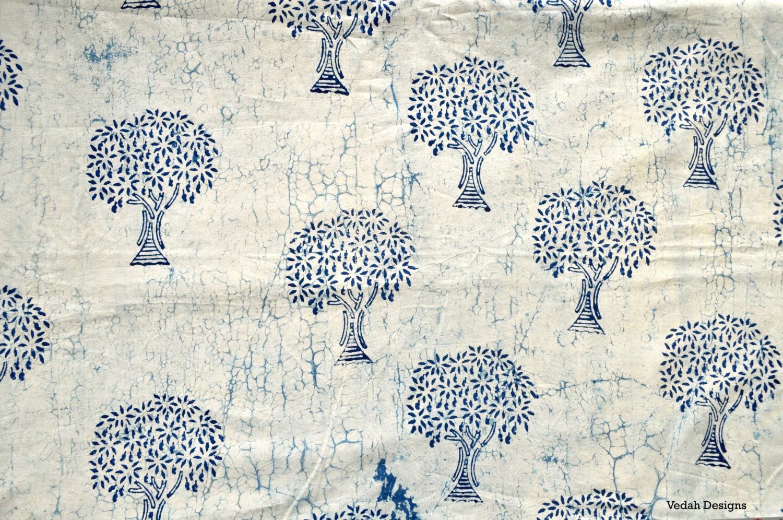 Tree Design White Indigo Fabric Mudcloth Block Print Fabric By
