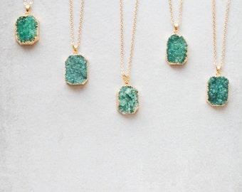 Octo Green Druzy Necklace - 020500039