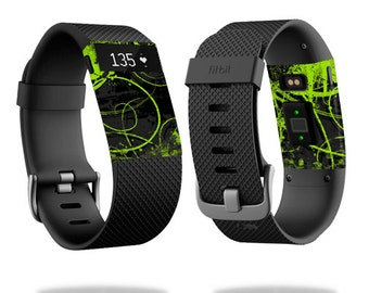 Skin Decal Wrap for Fitbit Blaze, Charge, Charge HR, Surge Watch cover sticker Green Distortion
