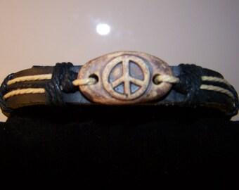 Leather Band Peace Bracelet