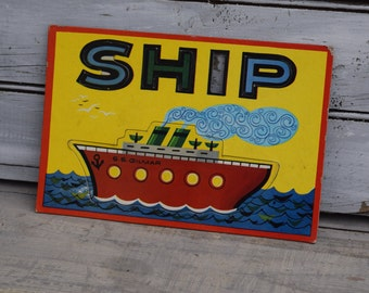 Ship Nursery Decor, Boat Art, Ship Art, Boat Nursery Decor, Ocean Kids Decor, Playroom Art, Boys Decor, Steamship Decor,Ship Playing Card