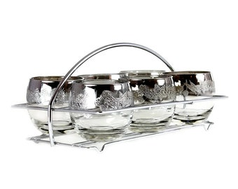 Silver Ombre Roly Poly Caddy Set, Berry Embossed Metallic Whiskey Glasses