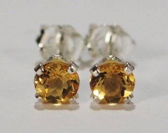 Citrine Earrings~.925 Sterling Silver Setting~4mm Round~Genuine Natural Mined