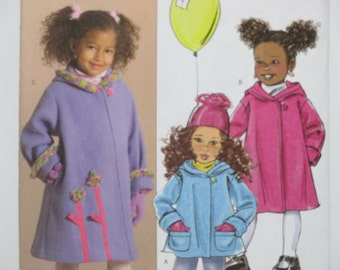 Butterick 4908 ~ Girls' Jacket and Coat with Hood, Turn Back Sleeves, Button and Loop Closure SIZE Children's 2,3,4,5 UNCUT Sewing Pattern