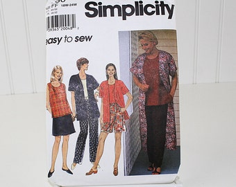 Plus Size Women's Jacket, Top Pants and Shorts Sewing Pattern, UNCUT Sewing Pattern, Simplicity 7480, Size 18W-24W