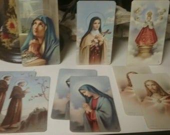 Set of NINE Vintage Catholic Funeral and Prayer Cards
