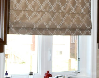 "Flat Roman Shade ""Selena Stone"" with chain mechanism, Geometric pattern, Windows Treatment, Custom Made"