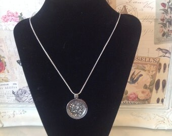 Silver  Coloured Coin Necklace with long chain, locket and grey crystal coin insert