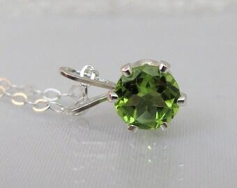 Sterling Silver Peridot Necklace, 6mm Peridot Gemstone, Peridot Jewelry, Peridot Pendant, August Birthstone Gift, Petite Layering Necklace