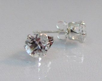 White Topaz Stud Earrings, 5mm Natural Topaz Gemstone, Sterling Silver, Brazilian Topaz, Post Earrings, Bride Earrings, Wedding Jewelry