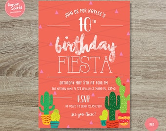 Kids Fiesta Invitation // 5x7 Fun Birthday Fiesta Invites - Cactus Fiesta Birthday Party - Summer Birthday Invitations - Fun Cactus Theme