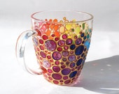 Hand painted Sun catcher Coffee Cup,  Multi Coloured Bubbles Mug, Painted Glass mug