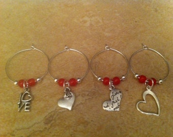 Various Heart Wine Charms